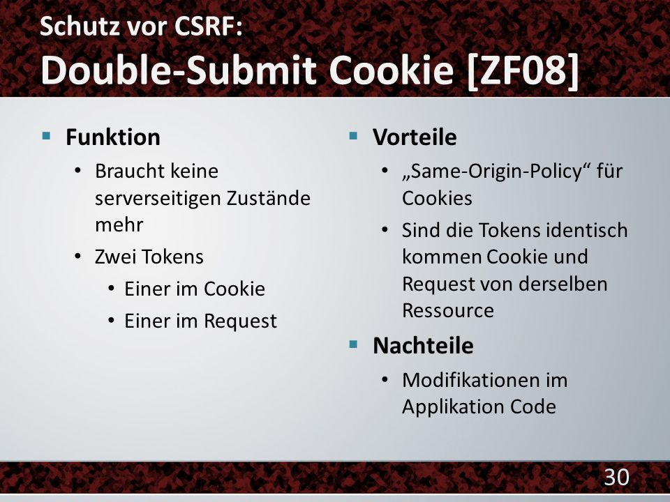 Schutz vor CSRF: Double-Submit Cookie [ZF08]
